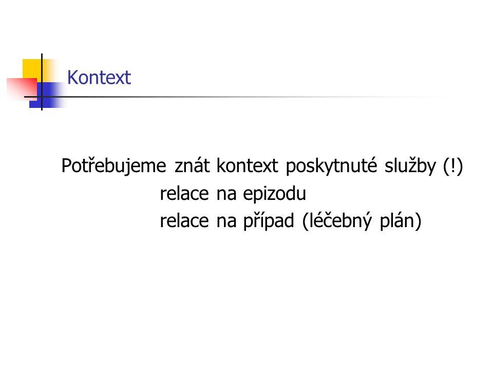 Kontext Potřebujeme znát kontext poskytnuté služby (!) relace na epizodu relace na případ (léčebný plán)
