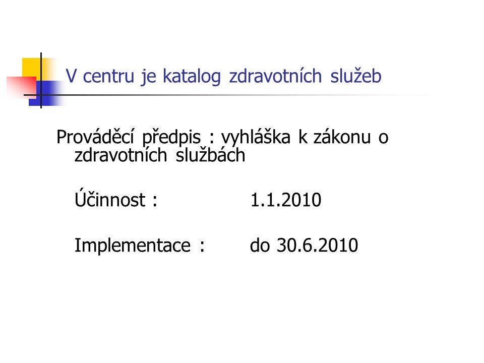 V centru je katalog zdravotních služeb Prováděcí předpis : vyhláška k zákonu o zdravotních službách Účinnost : 1.1.2010 Implementace : do 30.6.2010