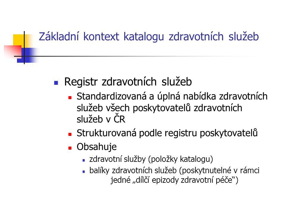 """Základní kontext katalogu zdravotních služeb Registr zdravotních služeb Standardizovaná a úplná nabídka zdravotních služeb všech poskytovatelů zdravotních služeb v ČR Strukturovaná podle registru poskytovatelů Obsahuje zdravotní služby (položky katalogu) balíky zdravotních služeb (poskytnutelné v rámci jedné """"dílčí epizody zdravotní péče )"""