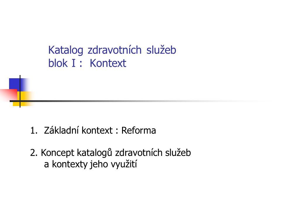 Katalog zdravotních služeb blok I : Kontext 1.Základní kontext : Reforma 2.