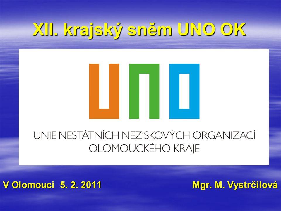 XII. krajský sněm UNO OK V Olomouci 5. 2. 2011 Mgr. M. Vystrčilová