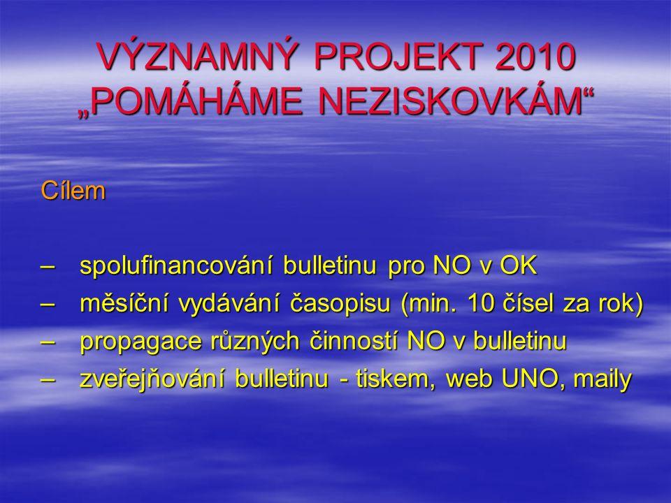 """VÝZNAMNÝ PROJEKT 2010 """"POMÁHÁME NEZISKOVKÁM"""" Cílem – spolufinancování bulletinu pro NO v OK –měsíční vydávání časopisu (min. 10 čísel za rok) –propaga"""