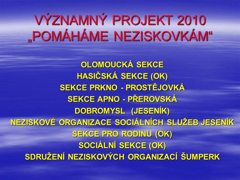 """VÝZNAMNÝ PROJEKT 2010 """"POMÁHÁME NEZISKOVKÁM OLOMOUCKÁ SEKCE HASIČSKÁ SEKCE (OK) SEKCE PRKNO - PROSTĚJOVKÁ SEKCE APNO - PŘEROVSKÁ DOBROMYSL (JESENÍK) NEZISKOVÉ ORGANIZACE SOCIÁLNÍCH SLUŽEB JESENÍK SEKCE PRO RODINU (OK) SOCIÁLNÍ SEKCE (OK) SDRUŽENÍ NEZISKOVÝCH ORGANIZACÍ ŠUMPERK"""