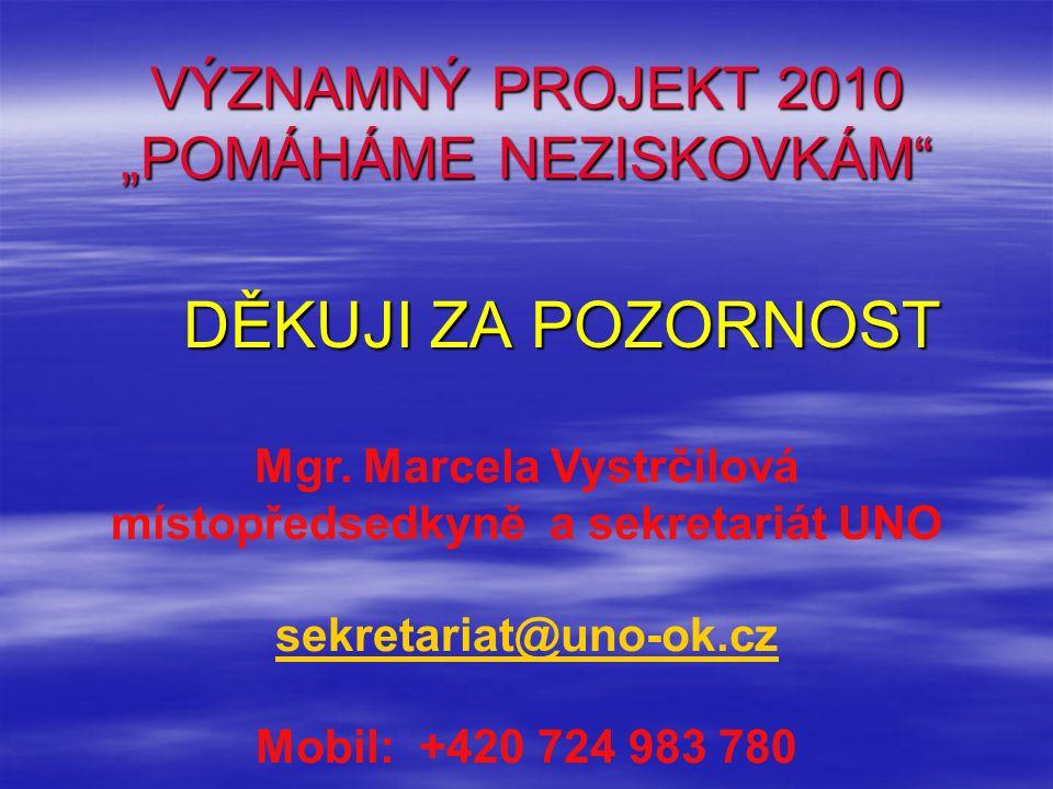 """VÝZNAMNÝ PROJEKT 2010 """"POMÁHÁME NEZISKOVKÁM"""" DĚKUJI ZA POZORNOST DĚKUJI ZA POZORNOST Mgr. Marcela Vystrčilová místopředsedkyně a sekretariát UNO sekre"""