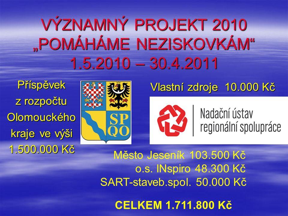 """VÝZNAMNÝ PROJEKT 2010 """"POMÁHÁME NEZISKOVKÁM 1.5.2010 – 30.4.2011 Příspěvek z rozpočtu Olomouckého krajeve výši 1.500.000 Kč Vlastní zdroje 10.000 Kč Město Jeseník 103.500 Kč o.s."""
