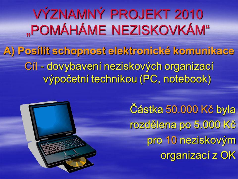 """VÝZNAMNÝ PROJEKT 2010 """"POMÁHÁME NEZISKOVKÁM A) Posílit schopnost elektronické komunikace Cíl - dovybavení neziskových organizací výpočetní technikou (PC, notebook) Částka 50.000 Kč byla rozdělena po 5.000 Kč pro 10 neziskovým organizací z OK"""