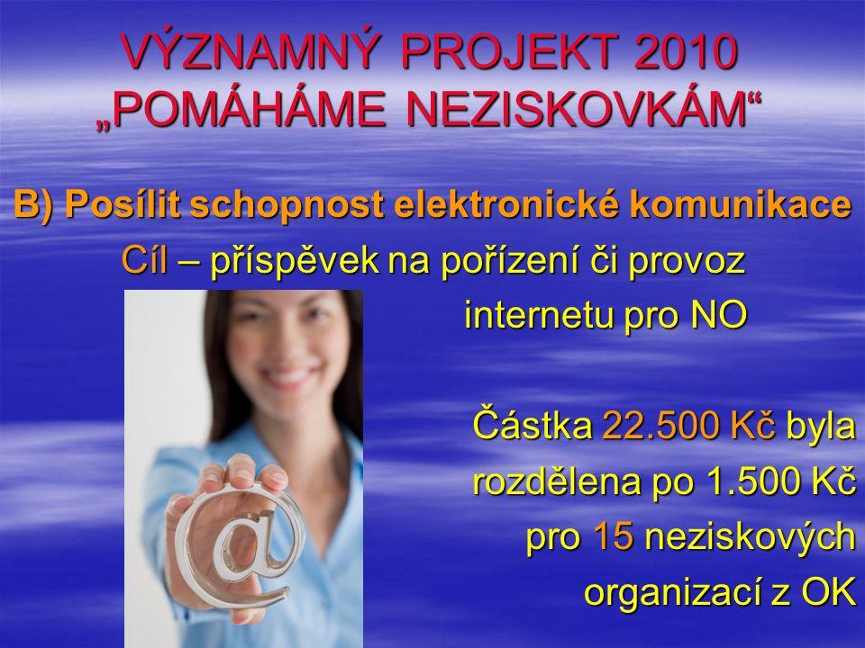 """VÝZNAMNÝ PROJEKT 2010 """"POMÁHÁME NEZISKOVKÁM B) Posílit schopnost elektronické komunikace Cíl – příspěvek na pořízení či provoz internetu pro NO Částka 22.500 Kč byla rozdělena po 1.500 Kč pro 15 neziskových organizací z OK"""