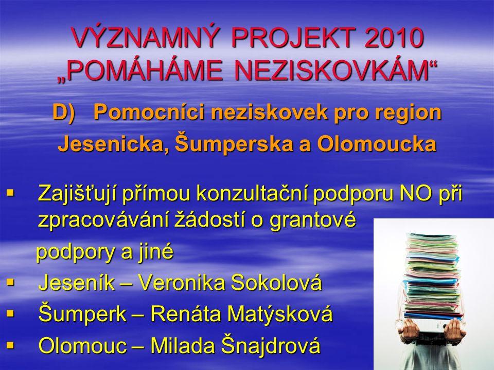 """VÝZNAMNÝ PROJEKT 2010 """"POMÁHÁME NEZISKOVKÁM"""" D) Pomocníci neziskovek pro region Jesenicka, Šumperska a Olomoucka  Zajišťují přímou konzultační podpor"""