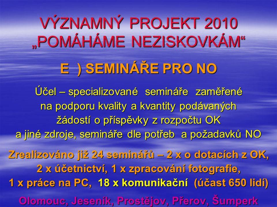 """VÝZNAMNÝ PROJEKT 2010 """"POMÁHÁME NEZISKOVKÁM"""" E ) SEMINÁŘE PRO NO Účel – specializované semináře zaměřené na podporu kvality a kvantity podávaných žádo"""