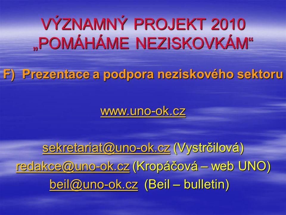 """VÝZNAMNÝ PROJEKT 2010 """"POMÁHÁME NEZISKOVKÁM F) Prezentace a podpora neziskového sektoru www.uno-ok.cz sekretariat@uno-ok.czsekretariat@uno-ok.cz (Vystrčilová) sekretariat@uno-ok.cz redakce@uno-ok.czredakce@uno-ok.cz (Kropáčová – web UNO) redakce@uno-ok.cz beil@uno-ok.cz (Beil – bulletin) beil@uno-ok.cz (Beil – bulletin)beil@uno-ok.cz"""