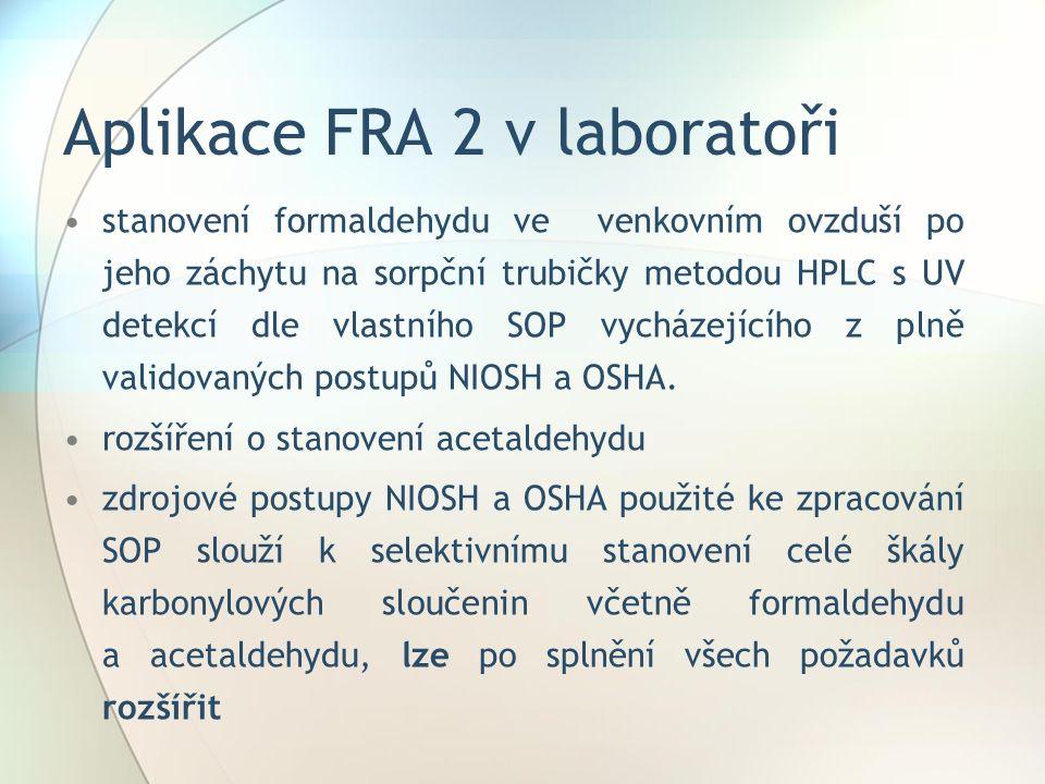 Aplikace FRA 2 v laboratoři stanovení formaldehydu ve venkovním ovzduší po jeho záchytu na sorpční trubičky metodou HPLC s UV detekcí dle vlastního SOP vycházejícího z plně validovaných postupů NIOSH a OSHA.