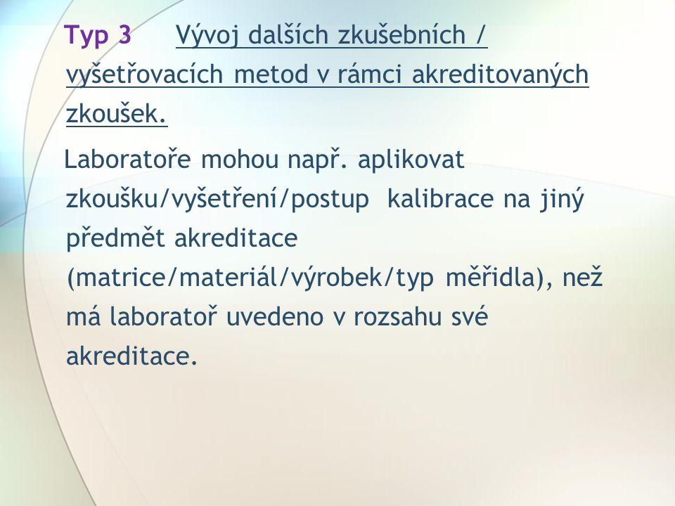 Typ 3Vývoj dalších zkušebních / vyšetřovacích metod v rámci akreditovaných zkoušek.
