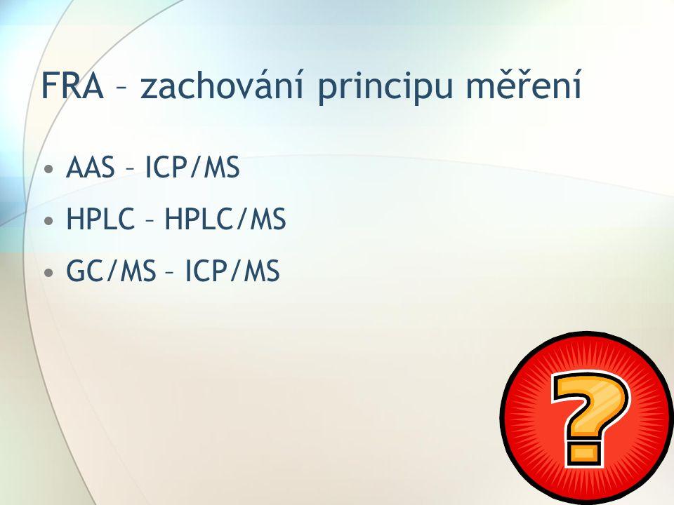 FRA – zachování principu měření AAS – ICP/MS HPLC – HPLC/MS GC/MS – ICP/MS