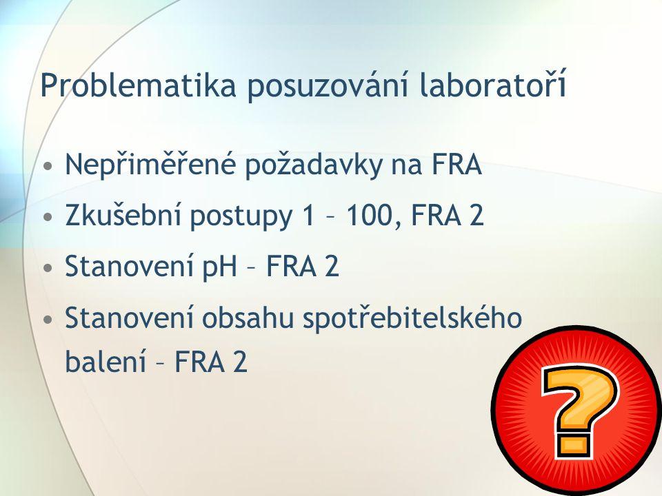 Problematika posuzování laboratoř í Nepřiměřené požadavky na FRA Zkušební postupy 1 – 100, FRA 2 Stanovení pH – FRA 2 Stanovení obsahu spotřebitelského balení – FRA 2