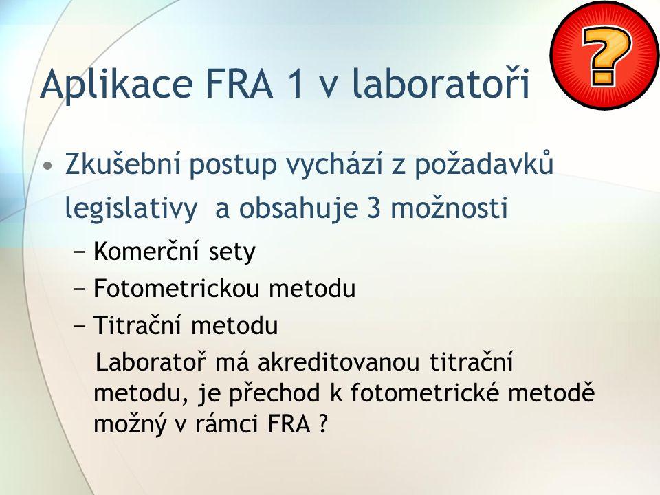 Aplikace FRA 1 v laboratoři Zkušební postup vychází z požadavků legislativy a obsahuje 3 možnosti −Komerční sety −Fotometrickou metodu −Titrační metodu Laboratoř má akreditovanou titrační metodu, je přechod k fotometrické metodě možný v rámci FRA