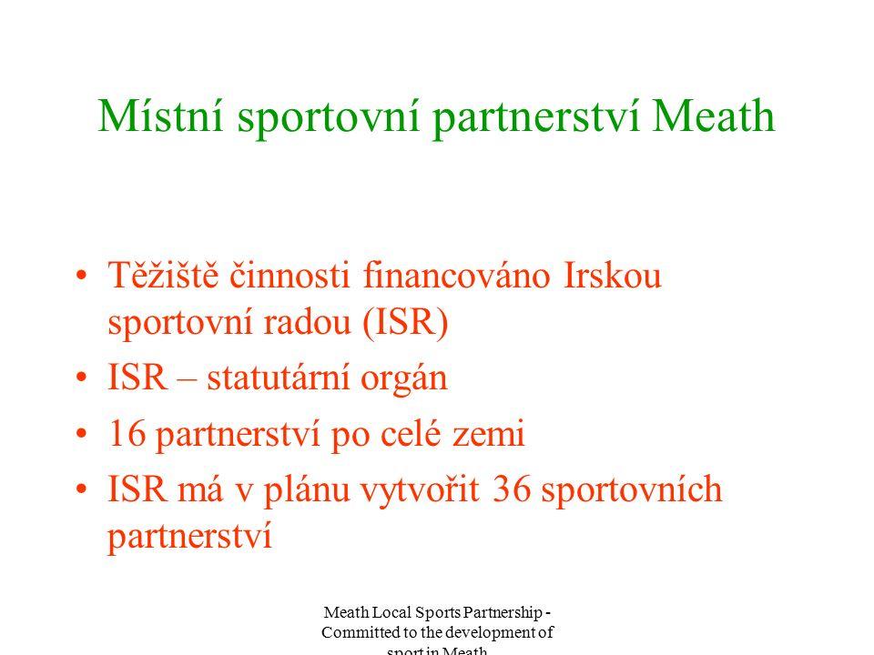 Meath Local Sports Partnership - Committed to the development of sport in Meath Místní sportovní partnerství Meath Těžiště činnosti financováno Irskou sportovní radou (ISR) ISR – statutární orgán 16 partnerství po celé zemi ISR má v plánu vytvořit 36 sportovních partnerství