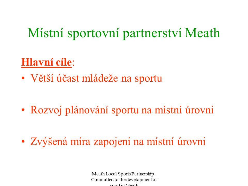 Meath Local Sports Partnership - Committed to the development of sport in Meath Místní sportovní partnerství Meath Hlavní cíle: Větší účast mládeže na sportu Rozvoj plánování sportu na místní úrovni Zvýšená míra zapojení na místní úrovni