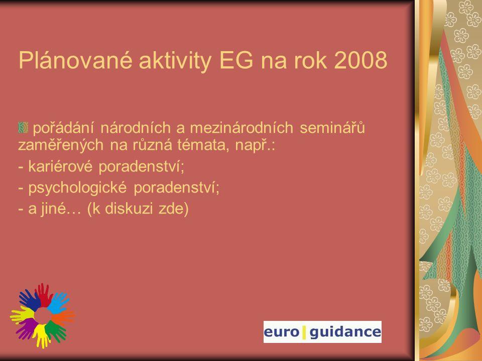 Plánované aktivity EG na rok 2008 pořádání národních a mezinárodních seminářů zaměřených na různá témata, např.: - kariérové poradenství; - psychologické poradenství; - a jiné… (k diskuzi zde)