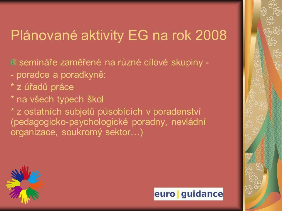 Plánované aktivity EG na rok 2008 semináře zaměřené na různé cílové skupiny - - poradce a poradkyně: * z úřadů práce * na všech typech škol * z ostatních subjetů působících v poradenství (pedagogicko-psychologické poradny, nevládní organizace, soukromý sektor…)