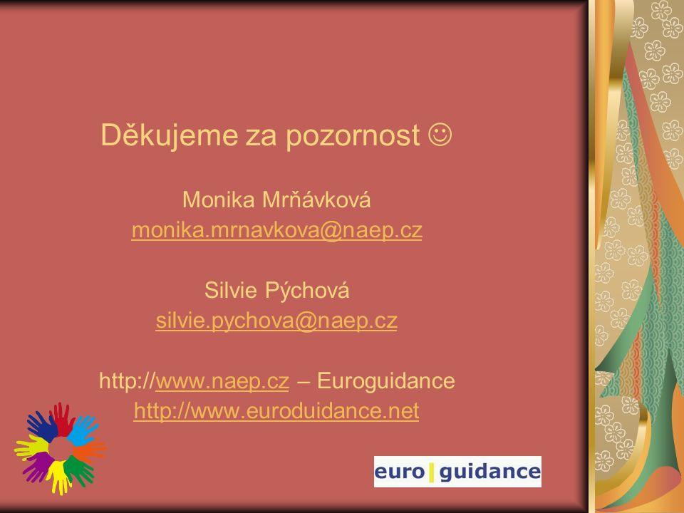 Děkujeme za pozornost Monika Mrňávková monika.mrnavkova@naep.cz Silvie Pýchová silvie.pychova@naep.cz http://www.naep.cz – Euroguidancewww.naep.cz http://www.euroduidance.net