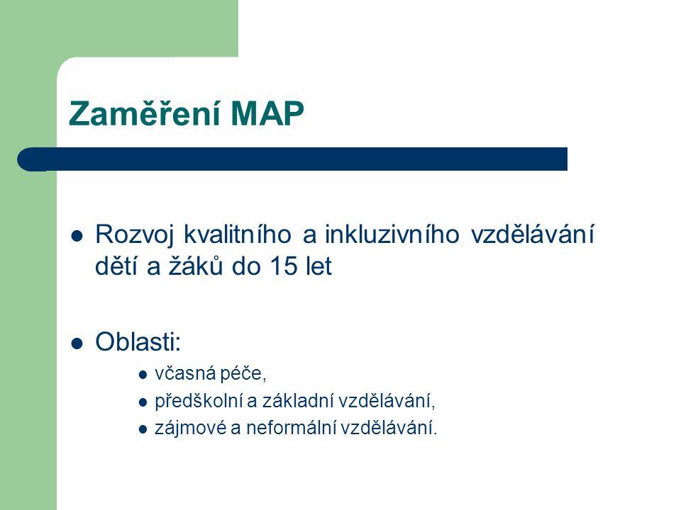 Zaměření MAP Rozvoj kvalitního a inkluzivního vzdělávání dětí a žáků do 15 let Oblasti: včasná péče, předškolní a základní vzdělávání, zájmové a nefor