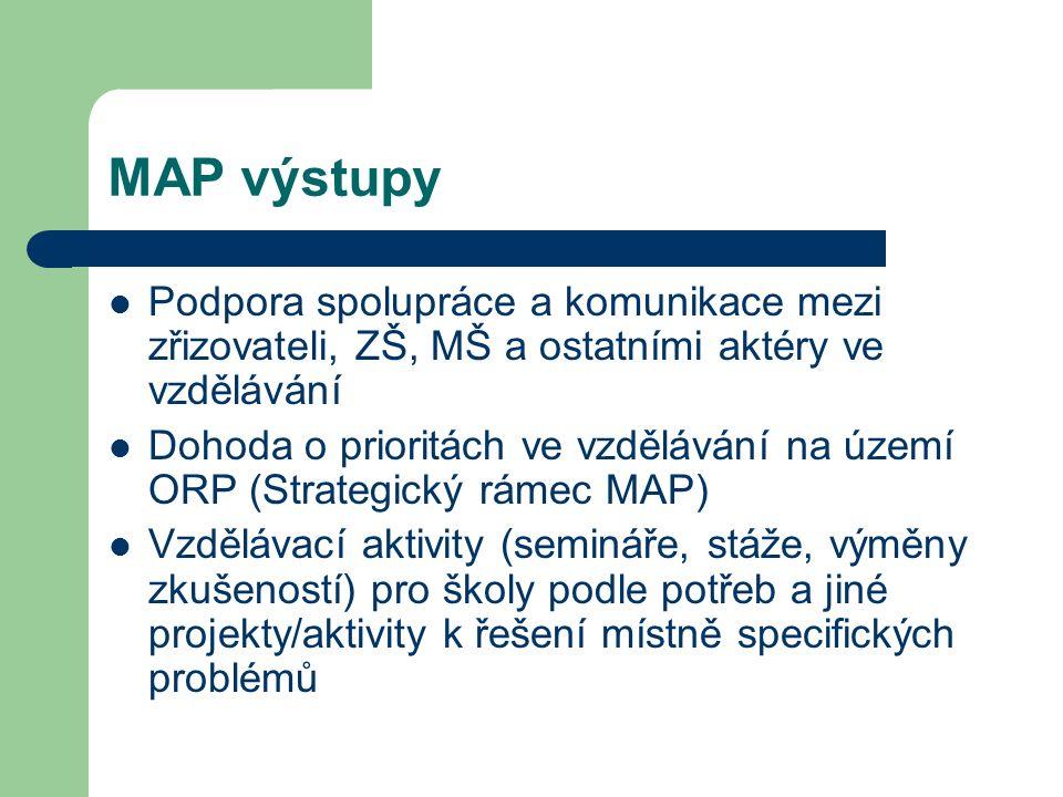 MAP výstupy Podpora spolupráce a komunikace mezi zřizovateli, ZŠ, MŠ a ostatními aktéry ve vzdělávání Dohoda o prioritách ve vzdělávání na území ORP (