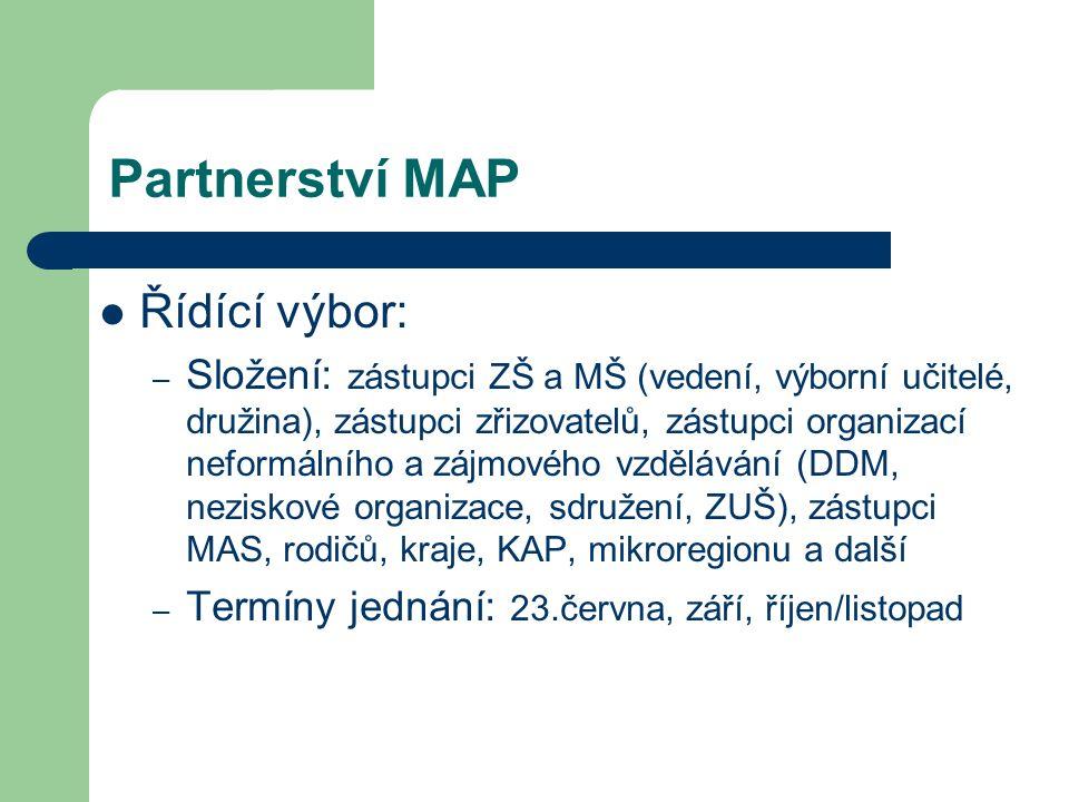 Partnerství MAP Řídící výbor: – Složení: zástupci ZŠ a MŠ (vedení, výborní učitelé, družina), zástupci zřizovatelů, zástupci organizací neformálního a