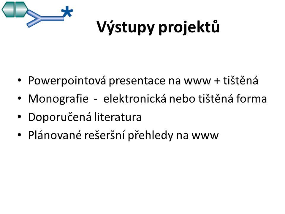 Výstupy projektů Powerpointová presentace na www + tištěná Monografie - elektronická nebo tištěná forma Doporučená literatura Plánované rešeršní přehledy na www