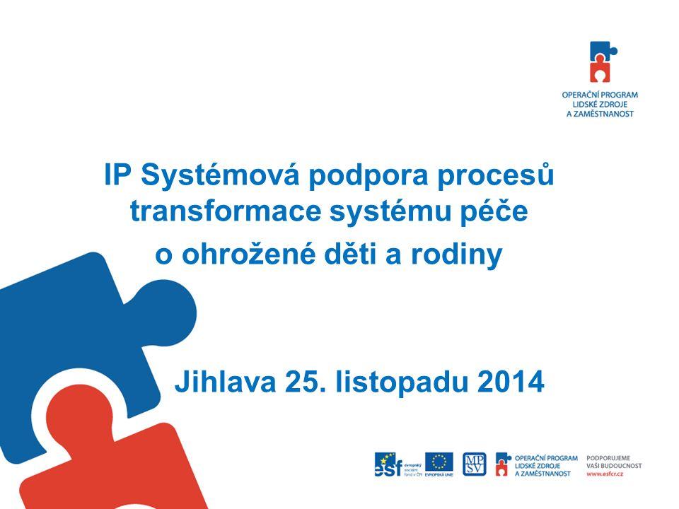 IP Systémová podpora procesů transformace systému péče o ohrožené děti a rodiny Jihlava 25.