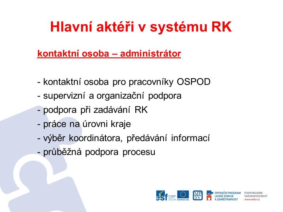Hlavní aktéři v systému RK koordinátor rodinných konferencí - neutrální osoba (mimo systémový svět) - neprofesionál - organizační pozice - mapování zdrojů v rodině; získávání kontaktů, rozšiřování kruhu - zasíťování rodiny, sezvání širokého kruhu rodiny v jeden čas a na jedno místo - příprava rodina na RK - moderace RK