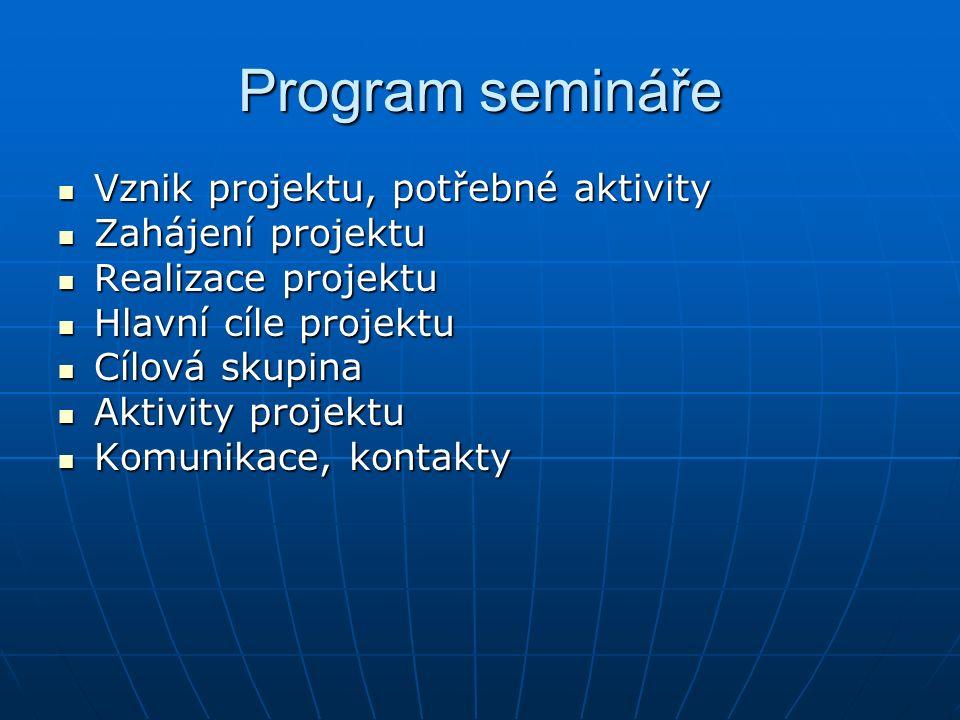 Program semináře Vznik projektu, potřebné aktivity Vznik projektu, potřebné aktivity Zahájení projektu Zahájení projektu Realizace projektu Realizace