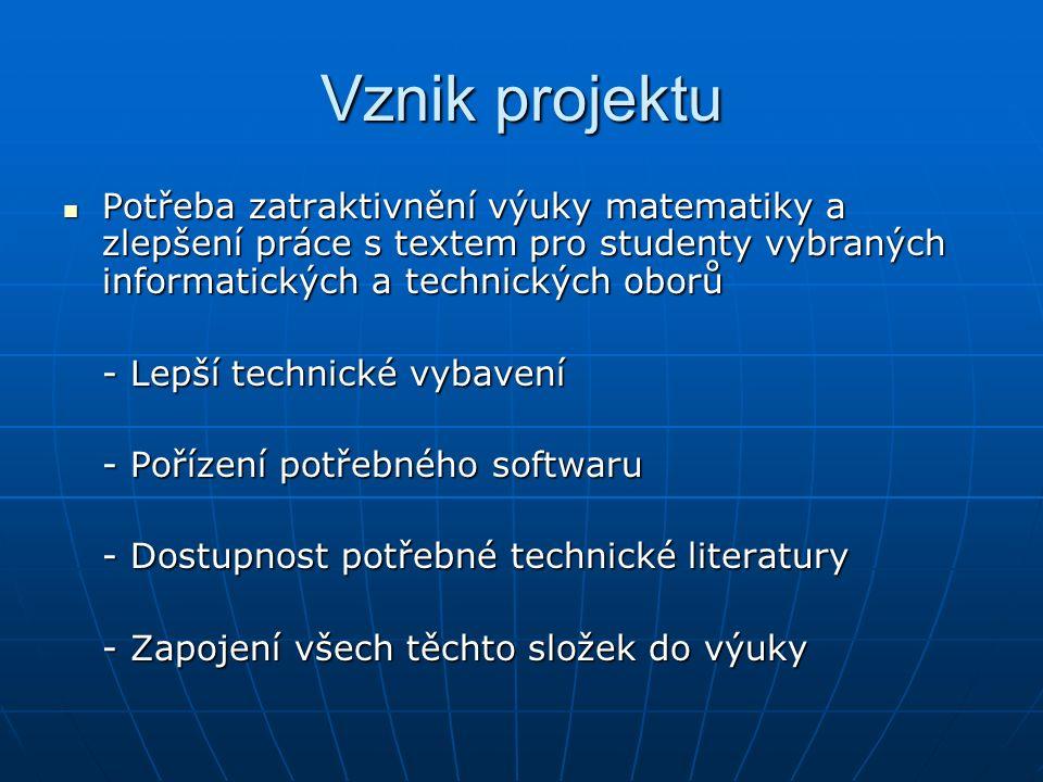 Vznik projektu Potřeba zatraktivnění výuky matematiky a zlepšení práce s textem pro studenty vybraných informatických a technických oborů Potřeba zatr