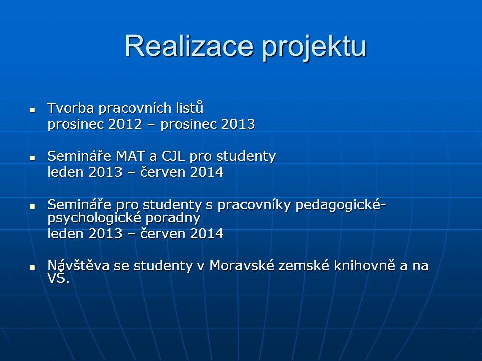 Hlavní cíle projektu Cílem a prioritou projektu je zvýšit úroveň studentů SOŠE a SOU ve Veselí nad Moravou v oblasti technických kompetencí a porozumění a interpretace odborného textu podle současných odborných poznatků.