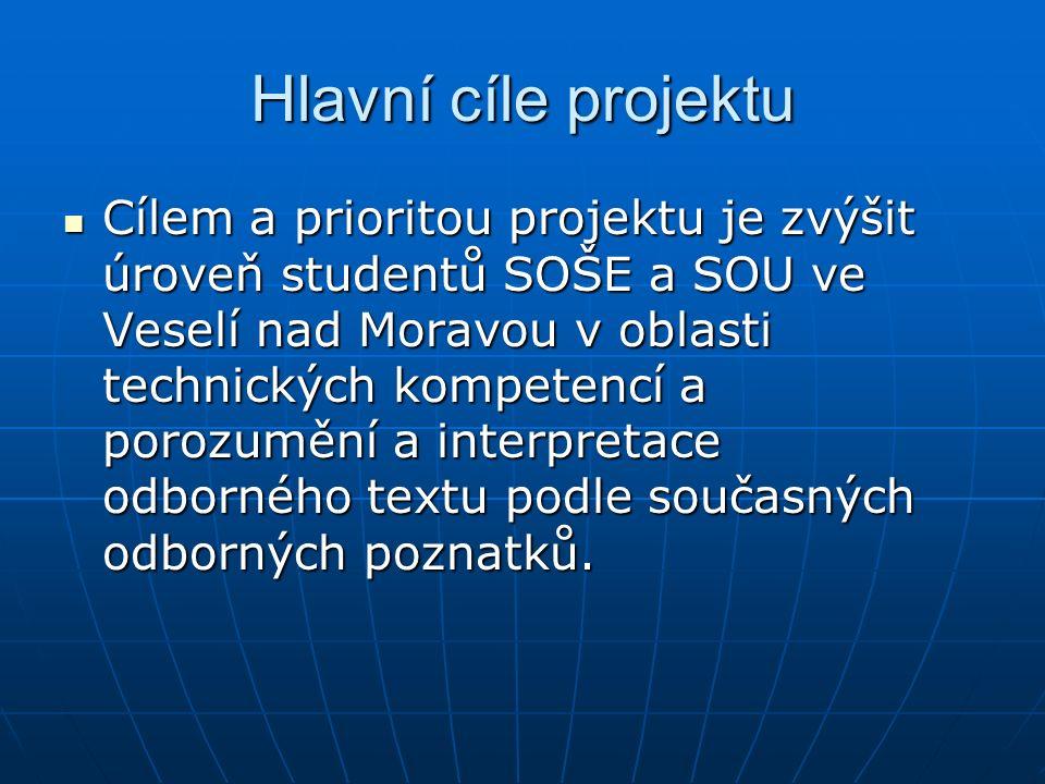 Hlavní cíle projektu Cílem a prioritou projektu je zvýšit úroveň studentů SOŠE a SOU ve Veselí nad Moravou v oblasti technických kompetencí a porozumě