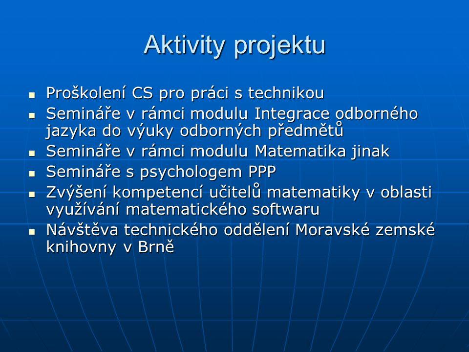 Aktivity projektu Proškolení CS pro práci s technikou Proškolení CS pro práci s technikou Semináře v rámci modulu Integrace odborného jazyka do výuky