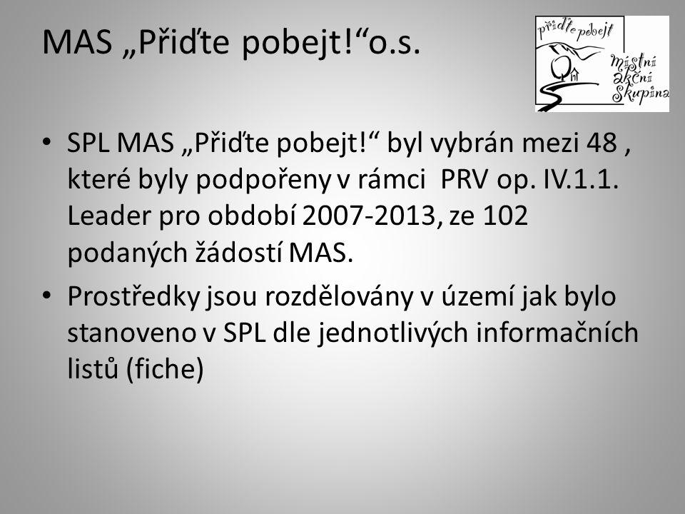 """MAS """"Přiďte pobejt!""""o.s. SPL MAS """"Přiďte pobejt!"""" byl vybrán mezi 48, které byly podpořeny v rámci PRV op. IV.1.1. Leader pro období 2007-2013, ze 102"""