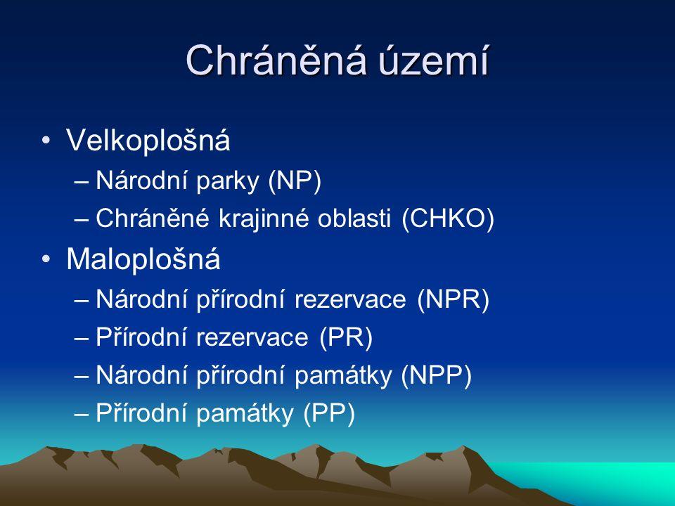 Mapa velkoplošných chráněných území ČR