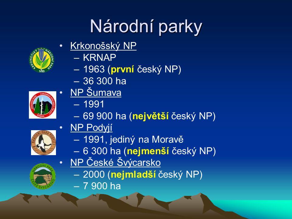 Národní parky Krkonošský NP –KRNAP –1963 (první český NP) –36 300 ha NP Šumava –1991 –69 900 ha (největší český NP) NP Podyjí –1991, jediný na Moravě –6 300 ha (nejmenší český NP) NP České Švýcarsko –2000 (nejmladší český NP) –7 900 ha