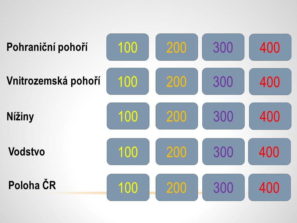 Pohraniční pohoří Vnitrozemská pohoří Nížiny Vodstvo Poloha ČR 100 200 300 400