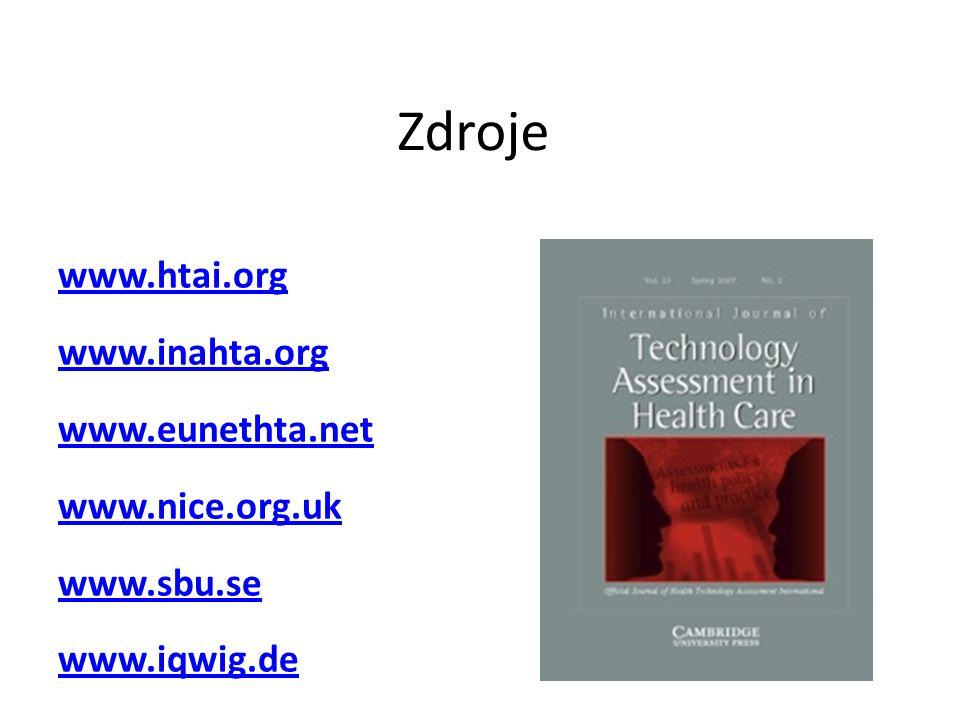 Zdroje www.htai.org www.inahta.org www.eunethta.net www.nice.org.uk www.sbu.se www.iqwig.de