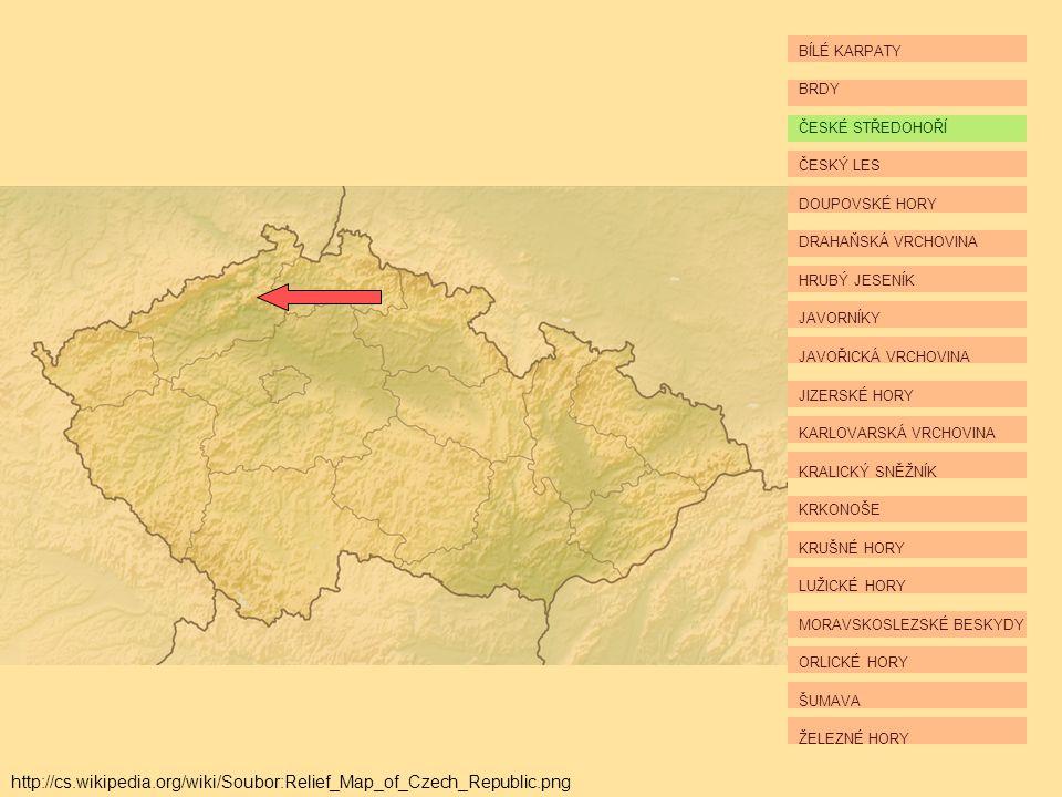 BÍLÉ KARPATY BRDY ČESKÉ STŘEDOHOŘÍ ČESKÝ LES DOUPOVSKÉ HORY DRAHAŇSKÁ VRCHOVINA HRUBÝ JESENÍK JAVORNÍKY JAVOŘICKÁ VRCHOVINA JIZERSKÉ HORY KARLOVARSKÁ