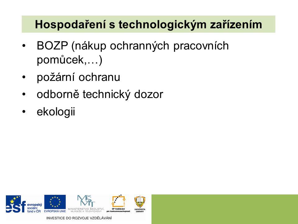 BOZP (nákup ochranných pracovních pomůcek,…) požární ochranu odborně technický dozor ekologii Hospodaření s technologickým zařízením
