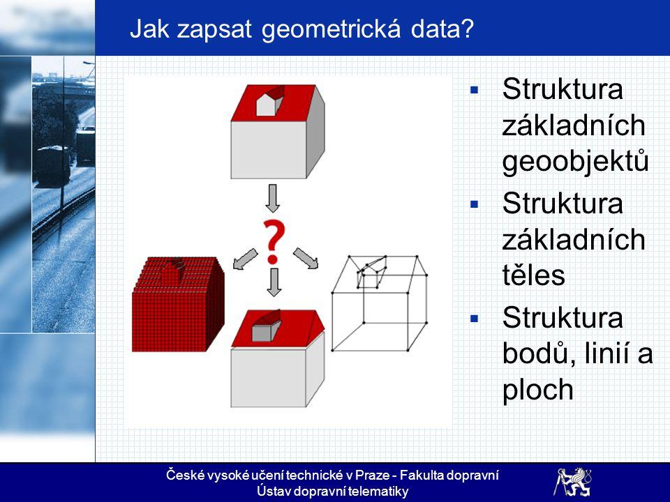 České vysoké učení technické v Praze - Fakulta dopravní Ústav dopravní telematiky Jak zapsat geometrická data.