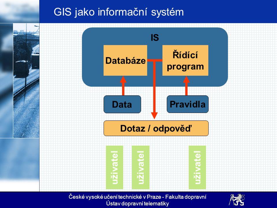 České vysoké učení technické v Praze - Fakulta dopravní Ústav dopravní telematiky GIS jako informační systém IS Databáze Řídící program Data Pravidla Dotaz / odpověď uživatel ….