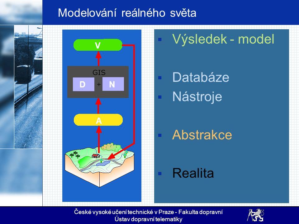 České vysoké učení technické v Praze - Fakulta dopravní Ústav dopravní telematiky Modelování reálného světa  Výsledek - model  Databáze  Nástroje 