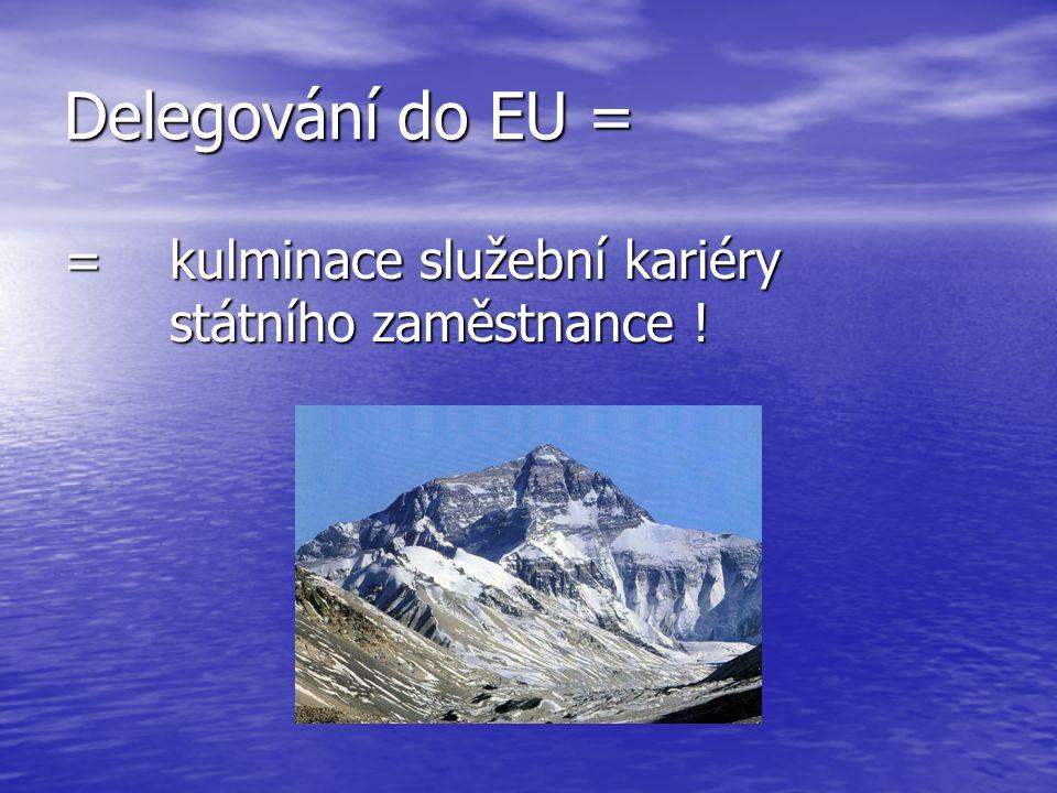 Delegování do EU = = kulminace služební kariéry státního zaměstnance !