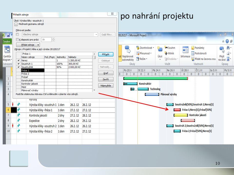 MS Project – pracovní plocha po nahrání projektu 10