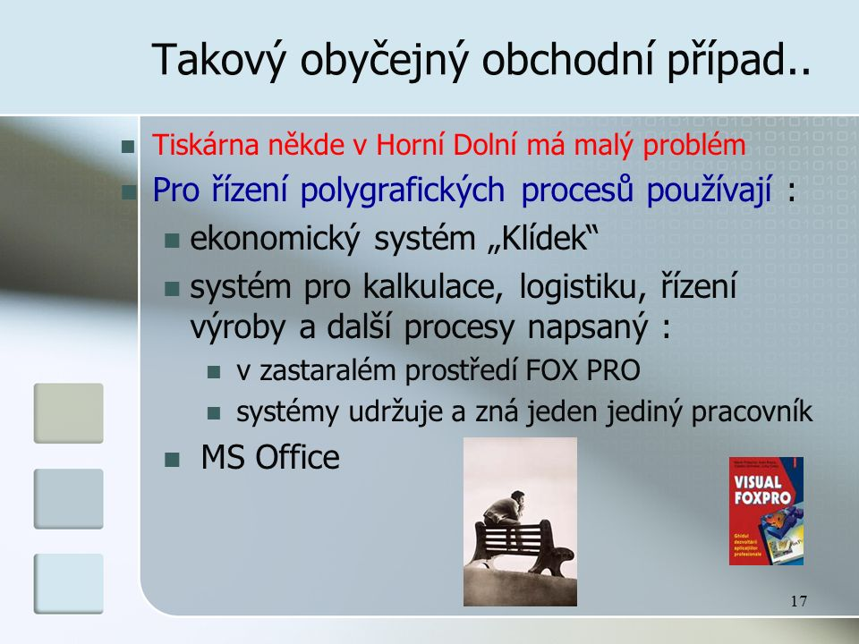 """17 Takový obyčejný obchodní případ.. Tiskárna někde v Horní Dolní má malý problém Pro řízení polygrafických procesů používají : ekonomický systém """"Klí"""