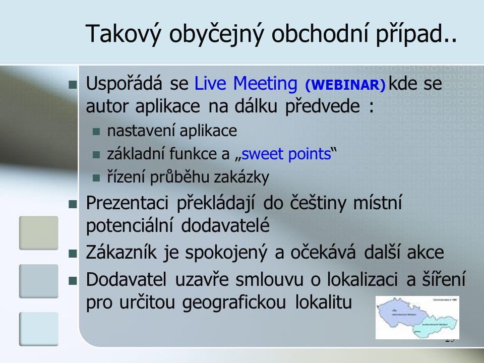 25 Takový obyčejný obchodní případ.. Uspořádá se Live Meeting (WEBINAR) kde se autor aplikace na dálku předvede : nastavení aplikace základní funkce a