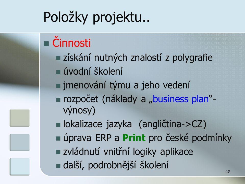 """28 Položky projektu.. Činnosti získání nutných znalostí z polygrafie úvodní školení jmenování týmu a jeho vedení rozpočet (náklady a """"business plan""""-"""